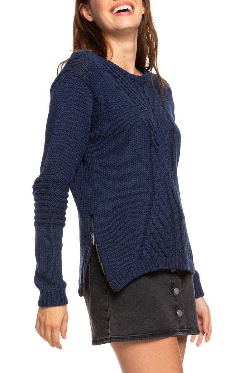 ROXY Glimpse of Romance Cable Knit Sweater, Main, color, MOOD INDIGO