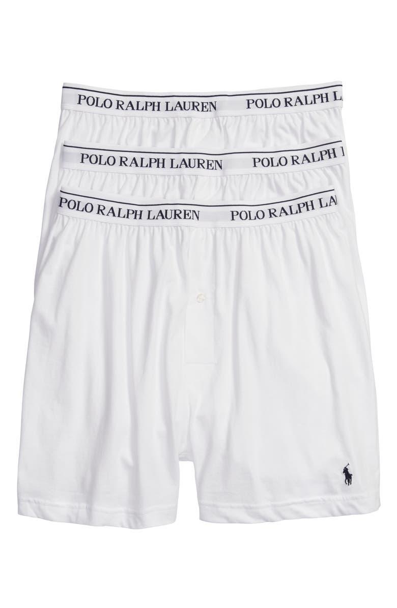 POLO RALPH LAUREN 3-Pack Cotton Boxers, Main, color, WHITE