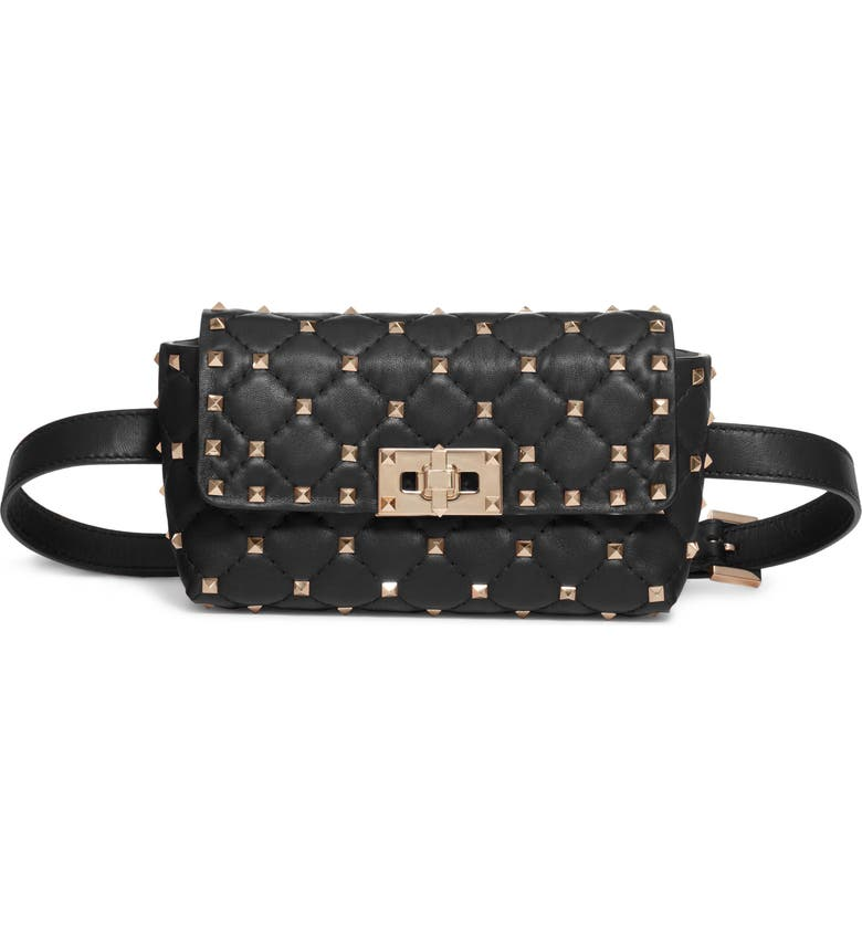 VALENTINO GARAVANI Rockstud Leather Belt Bag, Main, color, NERO
