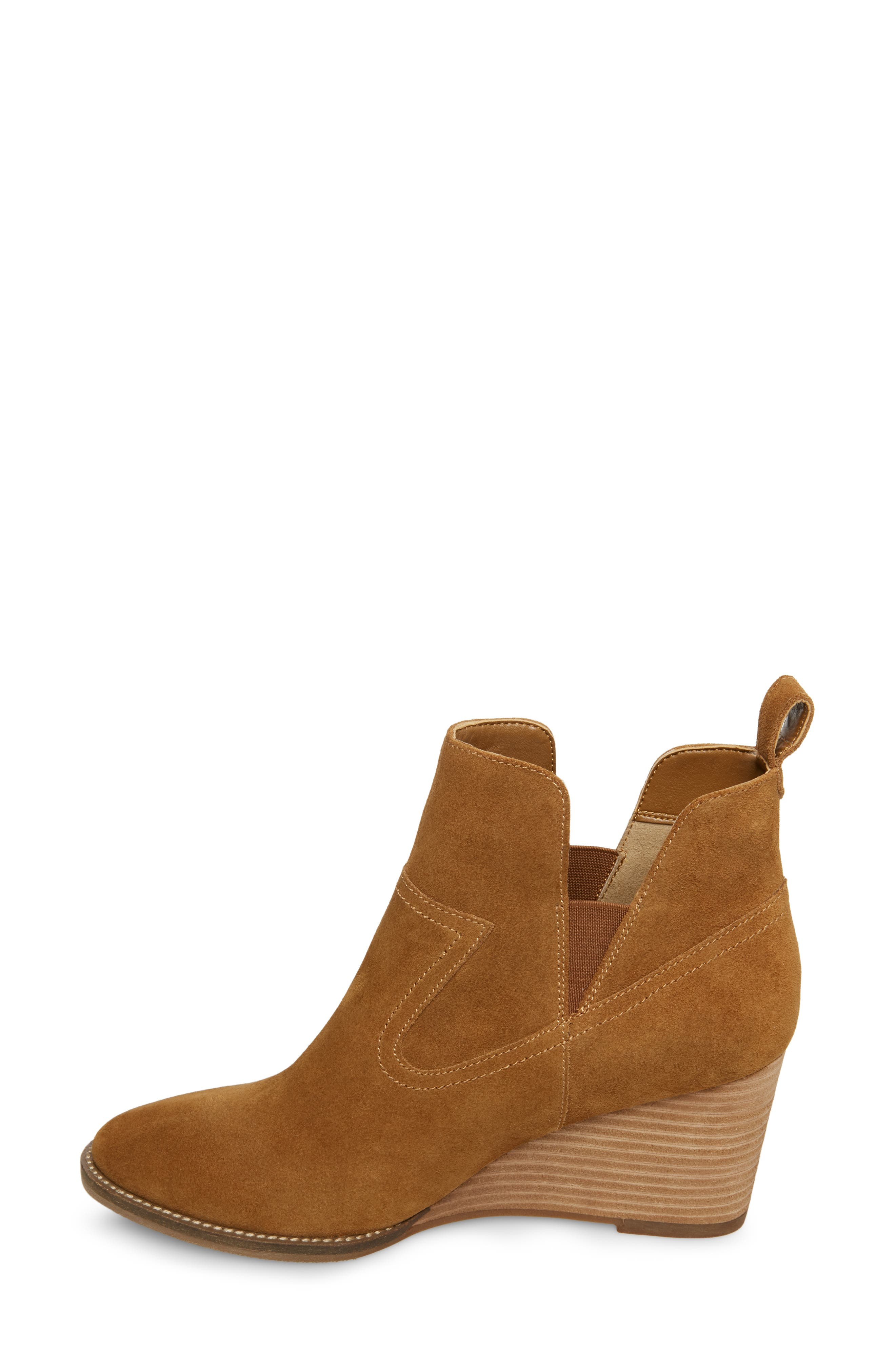 ,                             Irving Waterproof Wedge Bootie,                             Alternate thumbnail 8, color,                             CAMEL SUEDE