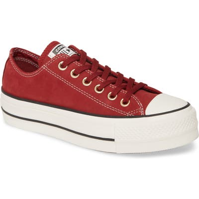 Converse Chuck Taylor All Star Lift Nubuck Leather Sneaker, Burgundy