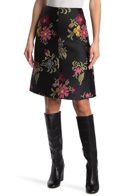 Image of RED Valentino Pixelated Floral A-Line Skirt