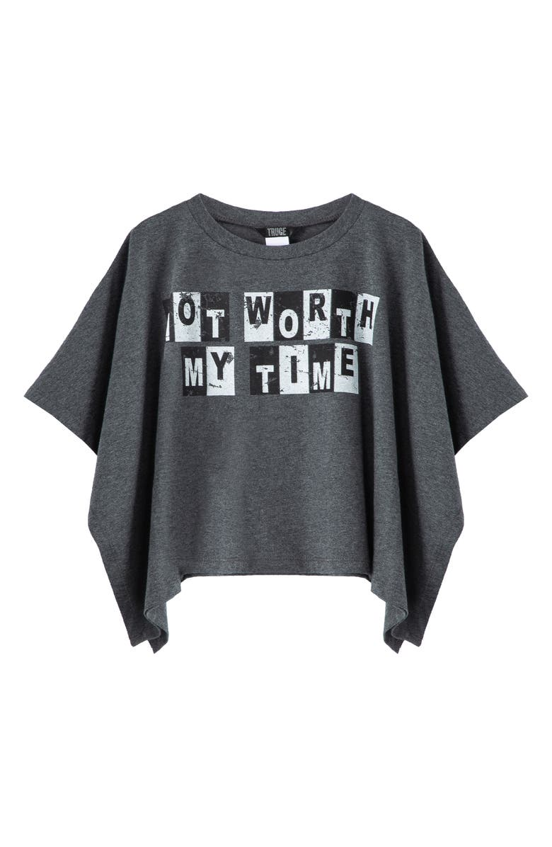TRUCE Kids' Not Worth My Time Graphic Tee, Main, color, DARK GREY