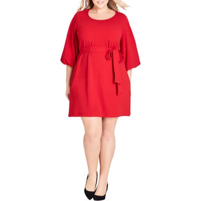 Plus Size City Chic Bubble Sleeve Dress, Red