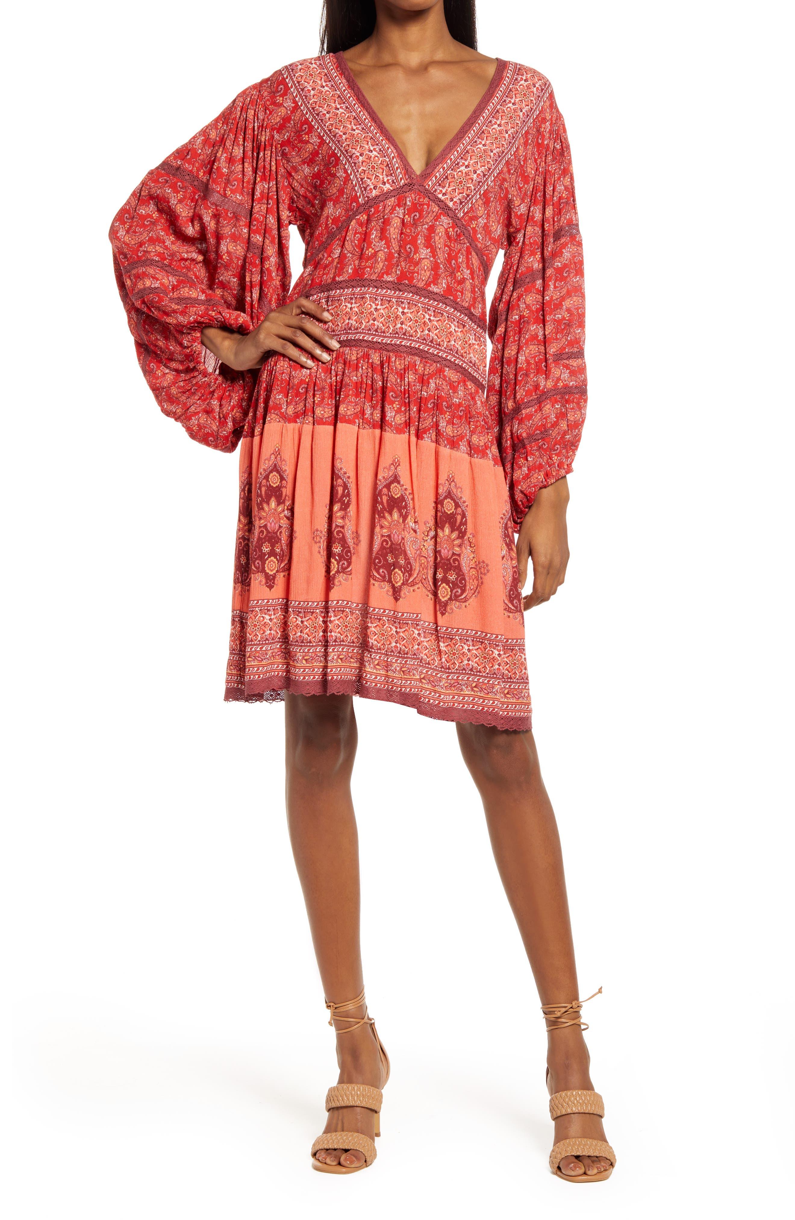 Gia Mix Print Long Sleeve Dress