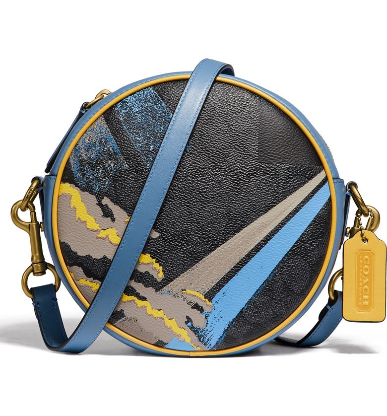 COACH Buy Now Abstract Cloud Signature Canvas Circle Crossbody Bag, Main, color, CHARCOAL SLATE