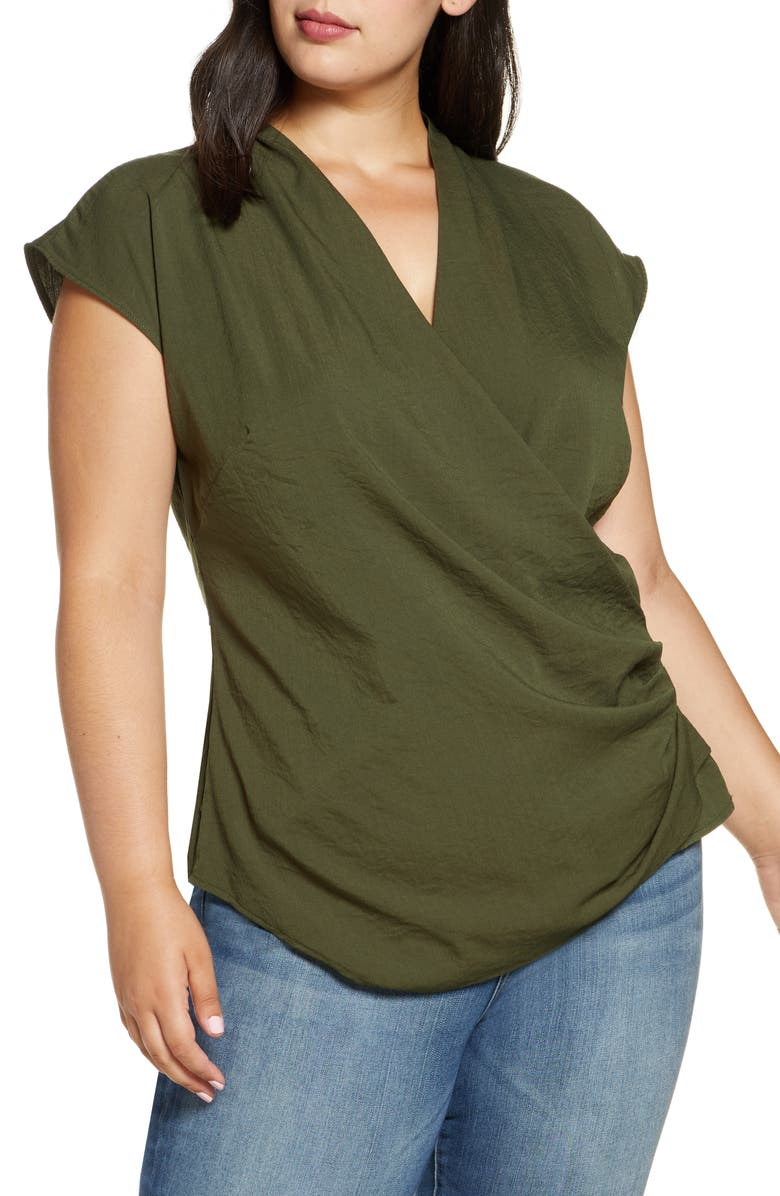 ELOQUII Drape Front Top, Main, color, OLIVE