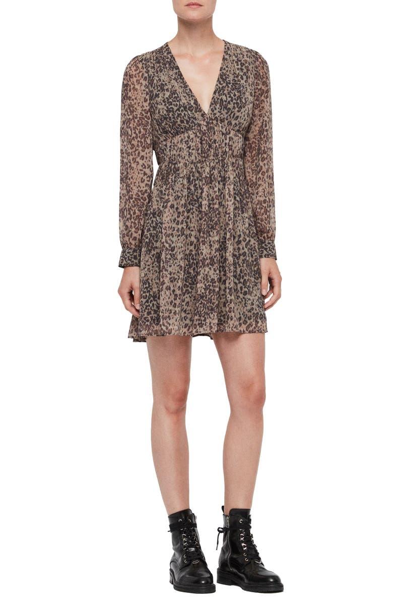 ALLSAINTS Kiana Long Sleeve Dress, Main, color, CAMEL BROWN