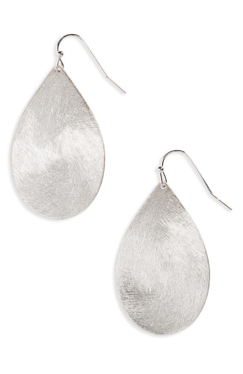 HALOGEN<SUP>®</SUP> Large Brushed Teardrop Earrings, Main, color, RHODIUM