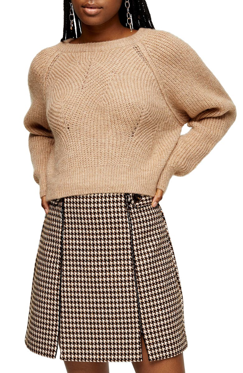 TOPSHOP Swirl Crop Sweater, Main, color, CAMEL