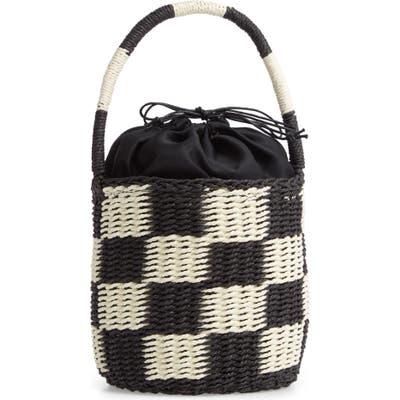 Malibu Skye Small Woven Drawstring Bucket Bag - Black