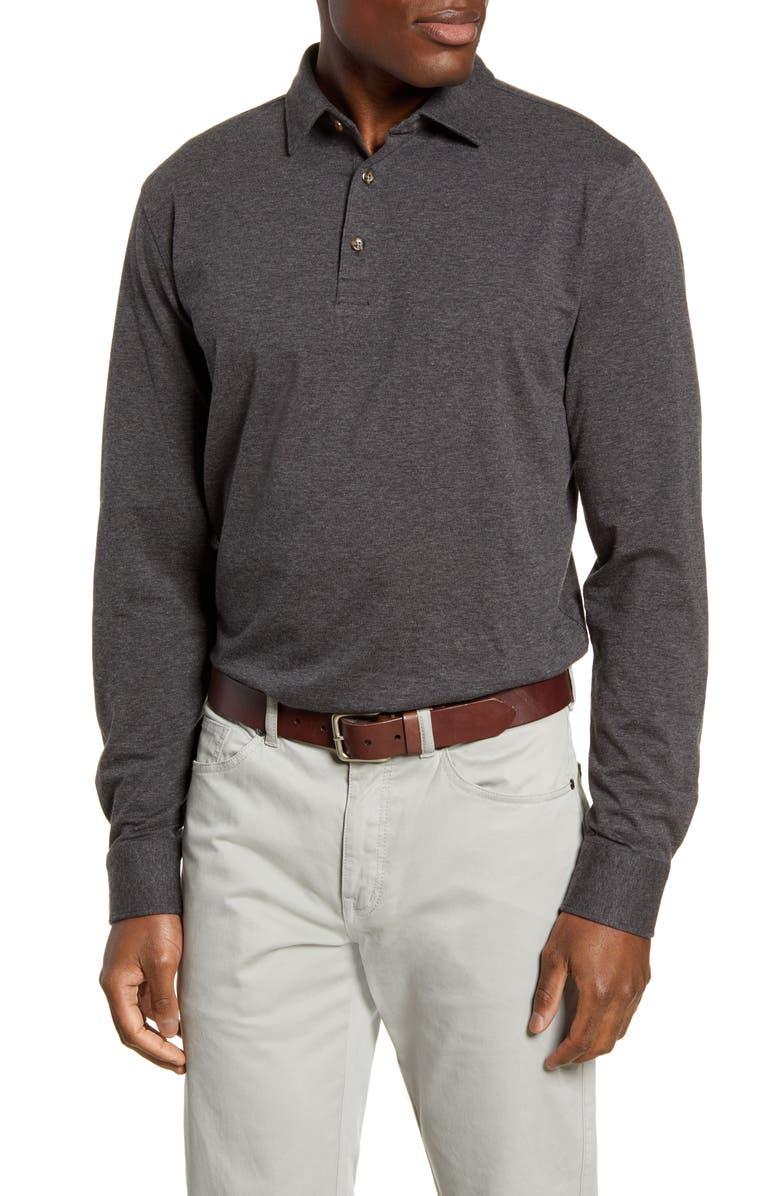PETER MILLAR Crown Fleece Long Sleeve Stretch Cotton & Cashmere Polo, Main, color, IRON