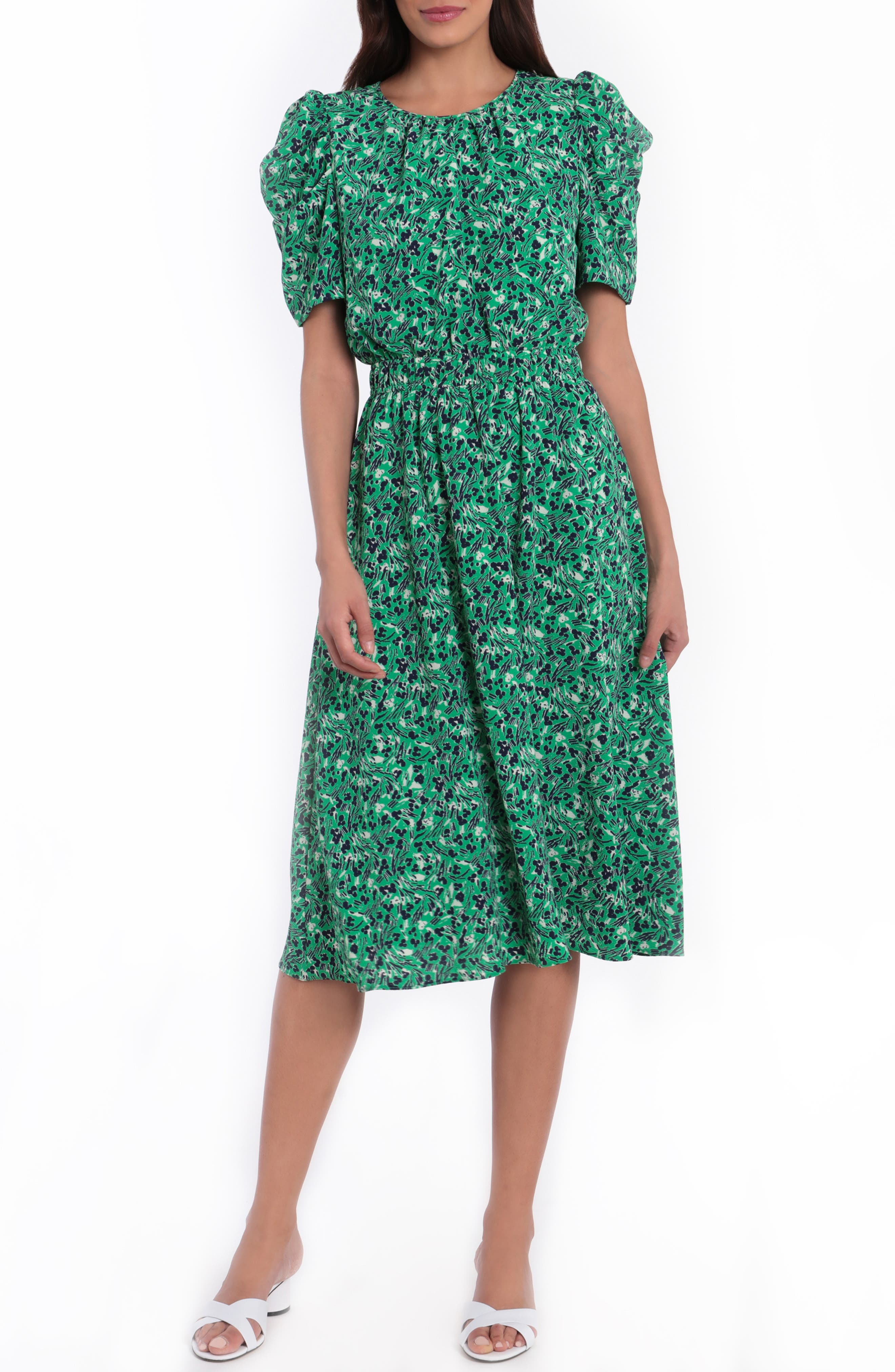 1980s Clothing, Fashion | 80s Style Clothes Womens Maggy London Floral Ruched Sleeve A-Line Bubble Crepe Dress Size 6 - Green $99.00 AT vintagedancer.com