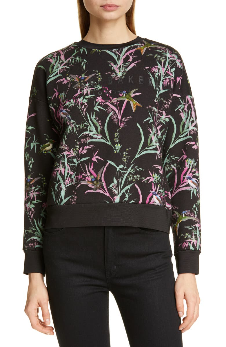 TED BAKER LONDON Vencia Print Sweatshirt, Main, color, 020