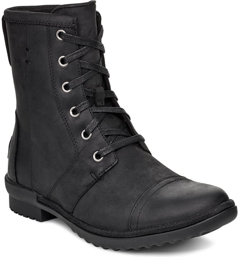 UGG<SUP>®</SUP> Ashbury Waterproof Lace-Up Bootie, Main, color, BLACK LEATHER