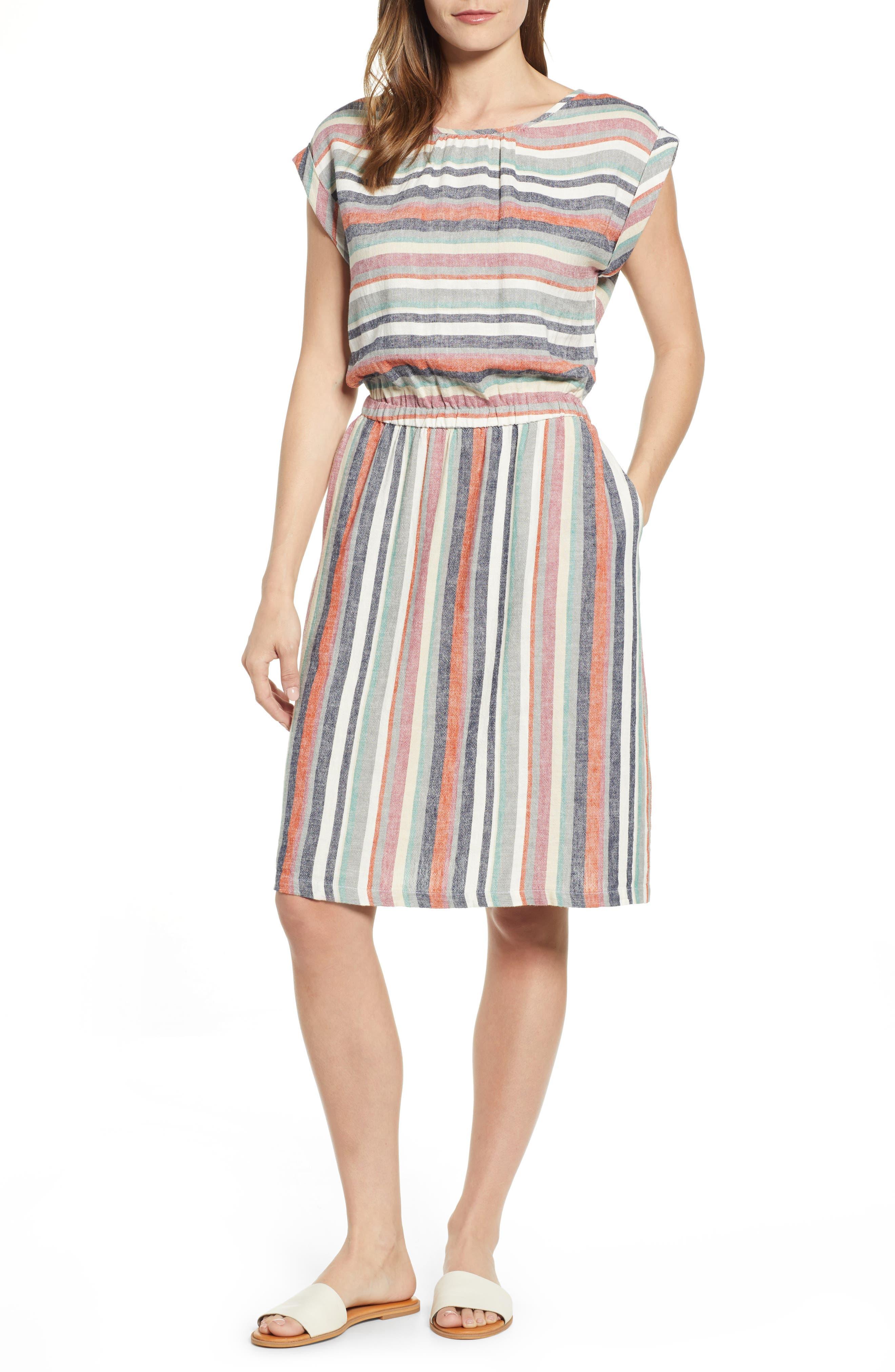 Caslon Stripe Linen Dress, Beige