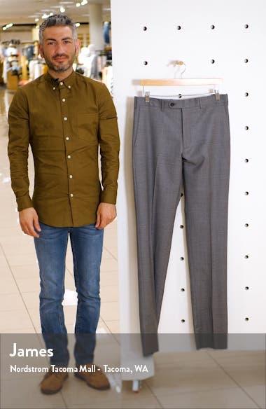 Torino Flat Front Sharkskin Stretch Wool Trousers, sales video thumbnail