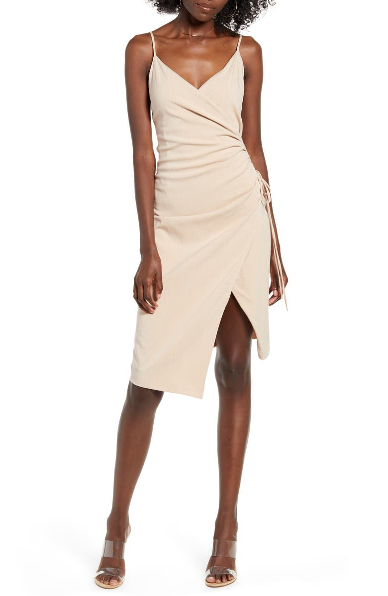 4SI3NNA Aerin Sleeveless Faux Wrap Dress, Main, color, TAUPE