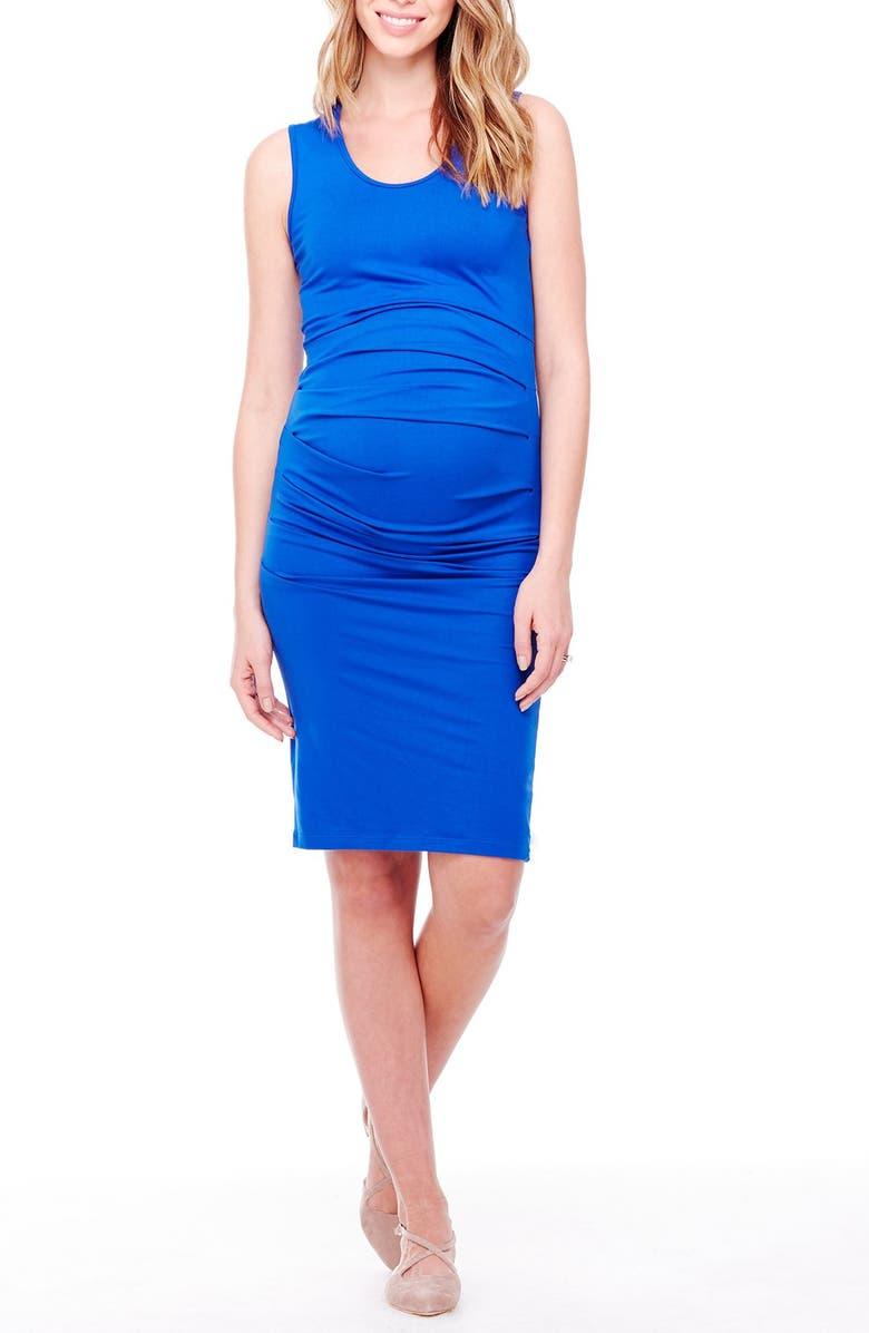 INGRID & ISABEL<SUP>®</SUP> Ruched Maternity Tank Dress, Main, color, COBALT BLUE