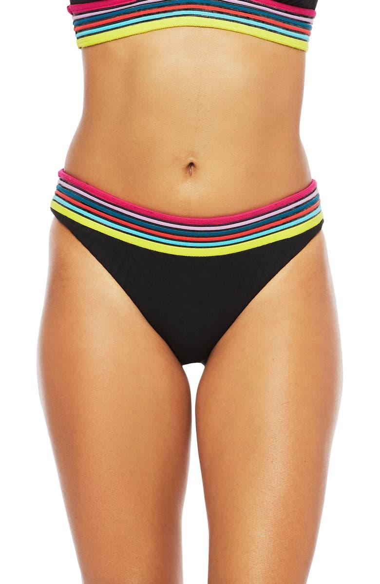 TRINA TURK Stripe Trim Zebra Hipster Bikini Bottoms, Main, color, BLACK