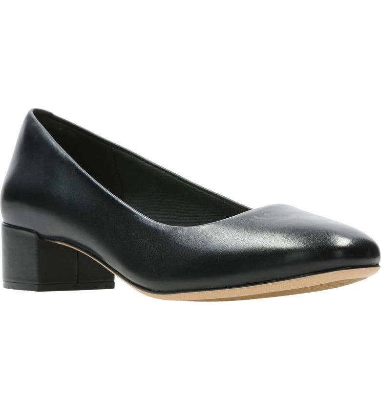 CLARKS<SUP>®</SUP> Orabella Alice Pump, Main, color, BLACK LEATHER