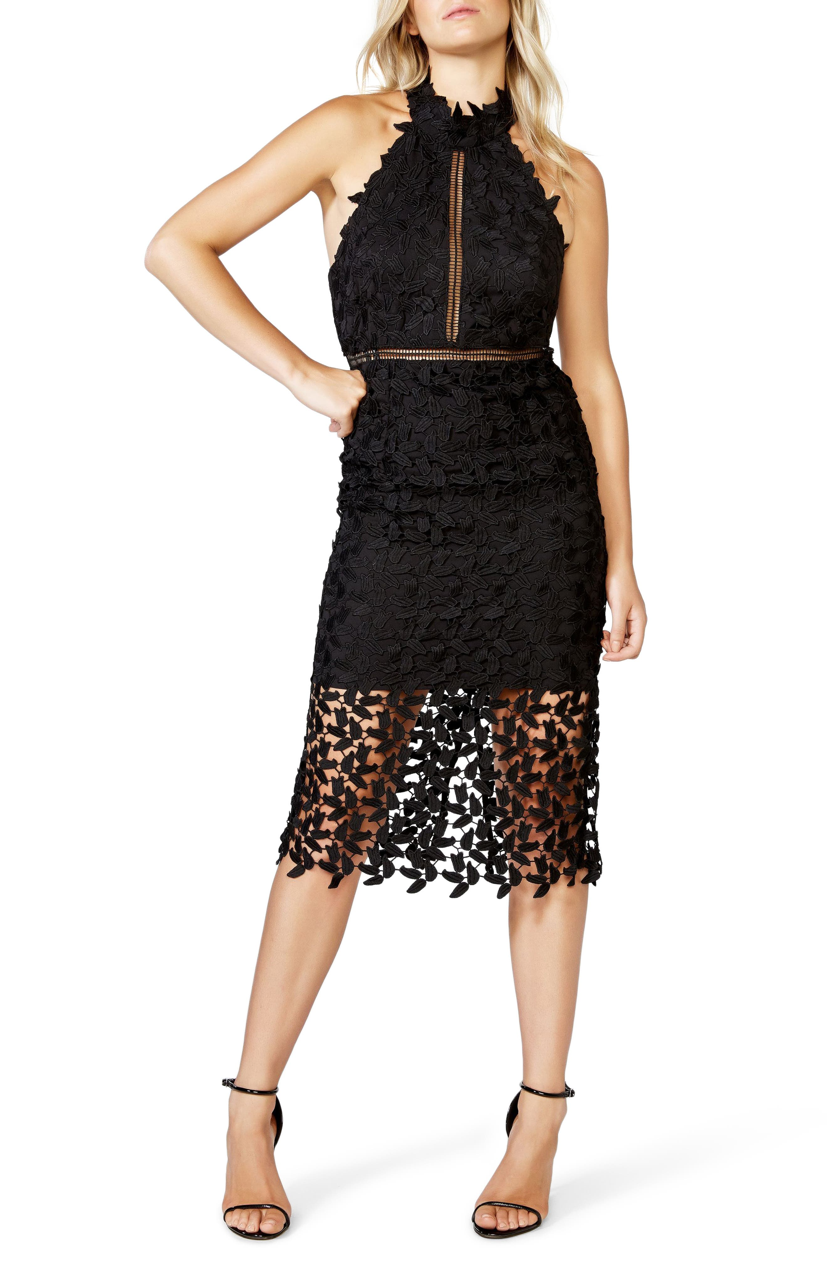 Bardot Gemma Halter Lace Sheath Dress In Black