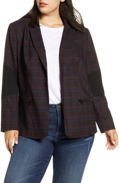1.state Blazers GLEN PLAID ONE BUTTON BLAZER