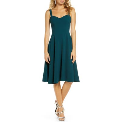 Dress The Population Alina Crepe Fit & Flare Cocktail Dress, Green