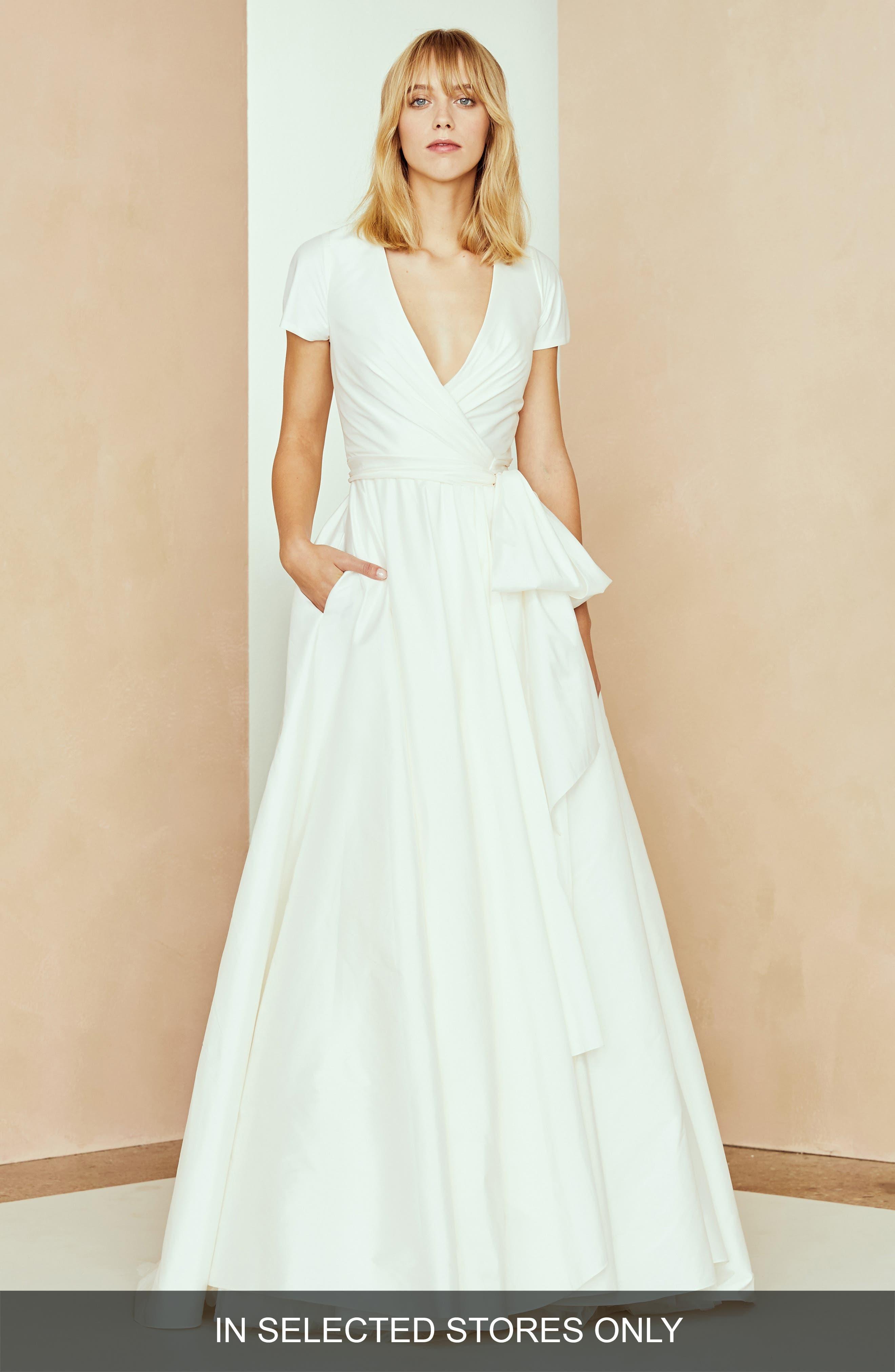 Nouvelle Amsale Nic Taffeta Wrap Ballgown, Size - Ivory