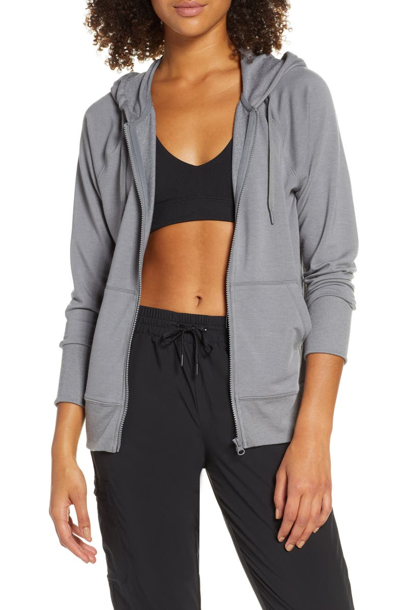 ZELLA Go To Zip Hoodie, Main, color, GREY DARK HEATHER
