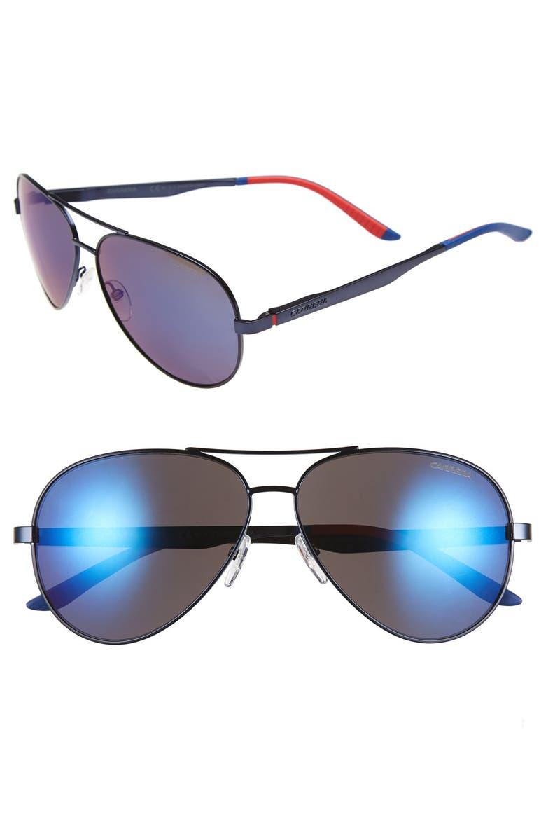 CARRERA EYEWEAR 59mm Metal Aviator Sunglasses, Main, color, 400