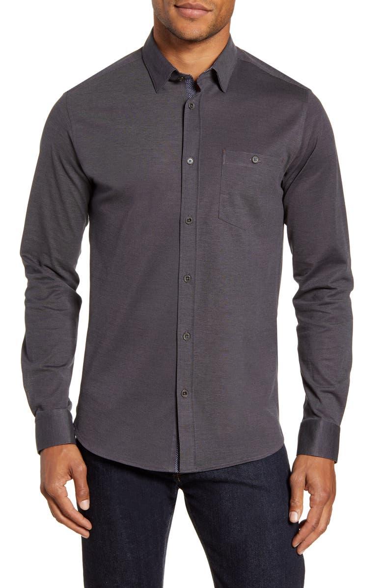 TED BAKER LONDON Broader Slim Fit Button-Up Piqué Shirt, Main, color, BLACK