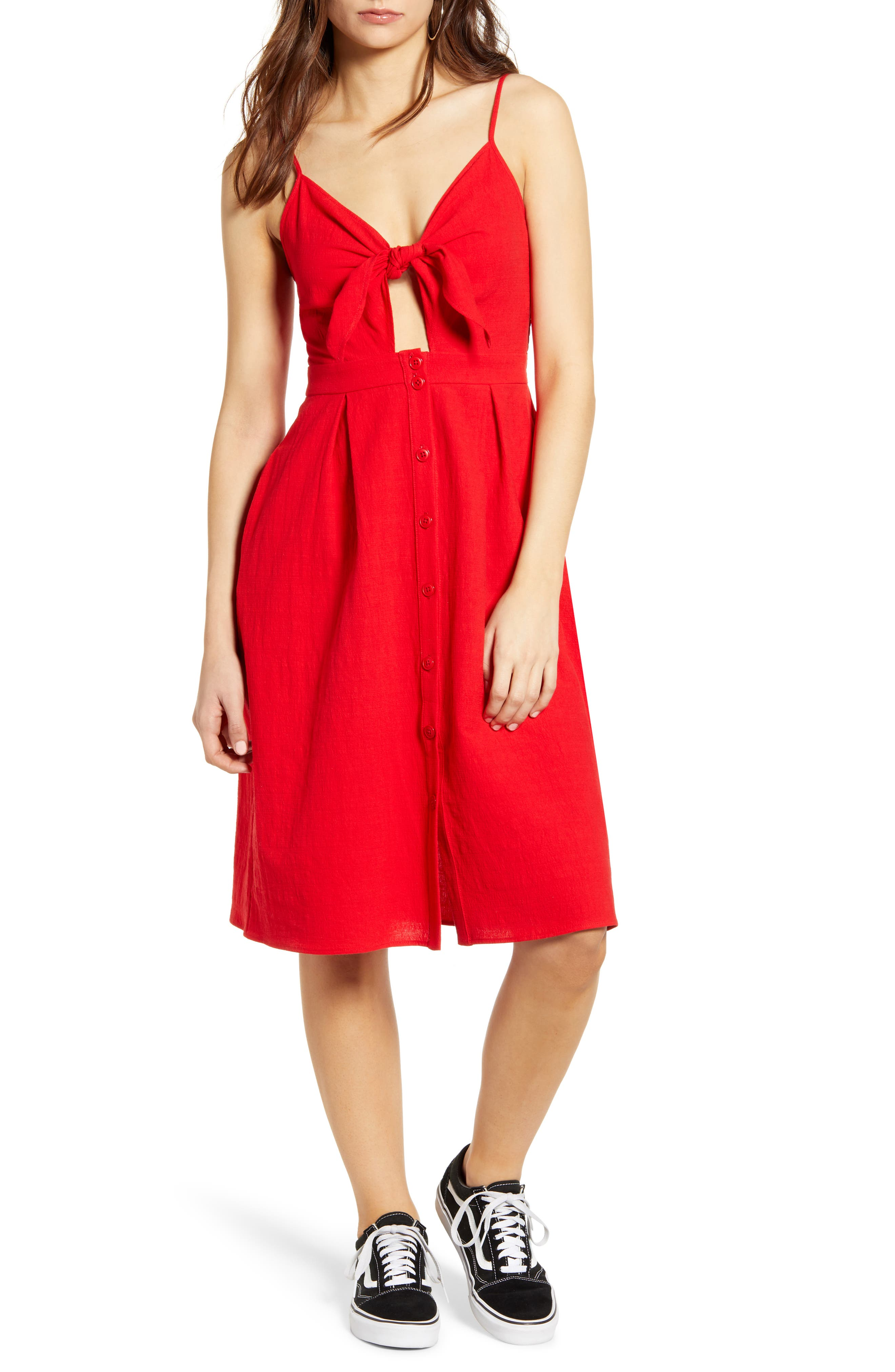 One Clothing Keyhole Button Front Dress, Red