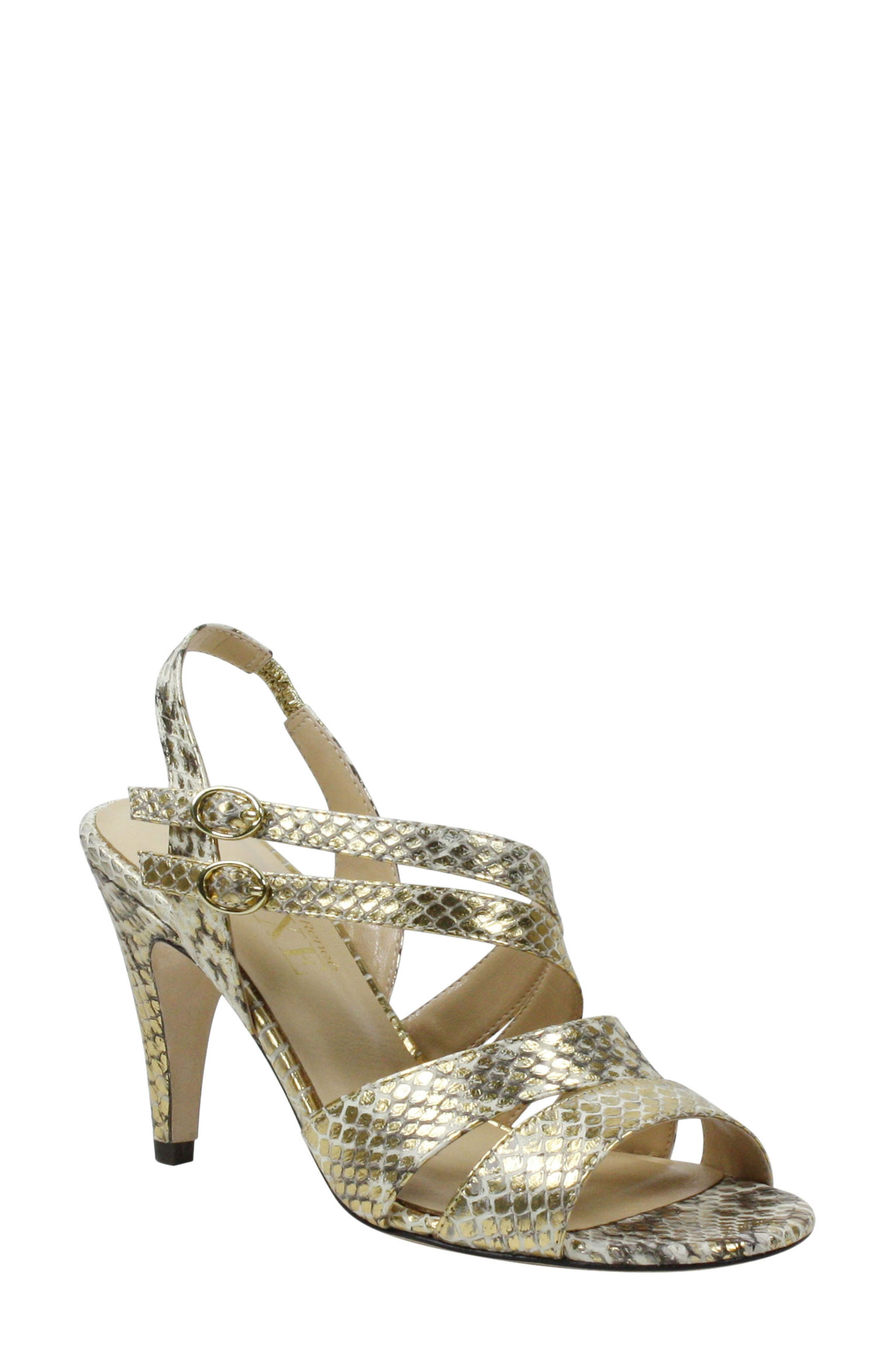 Women's J. Renee Carro Snake Embossed Strappy Sandal, Size 6.5 B - Beige