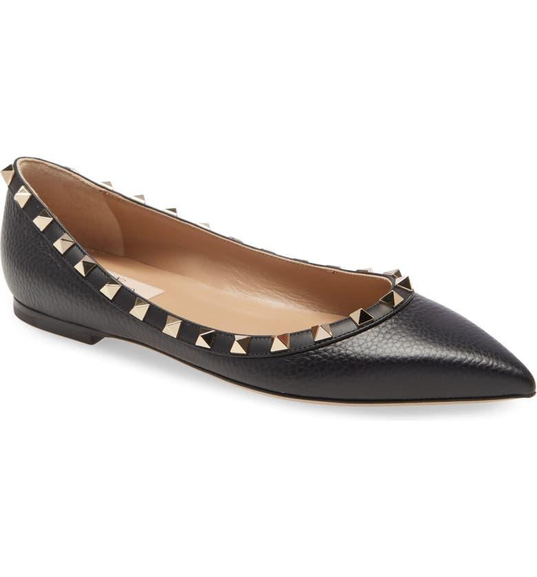 VALENTINO GARAVANI Rockstud Pointed Toe Flat, Main, color, BLACK LEATHER