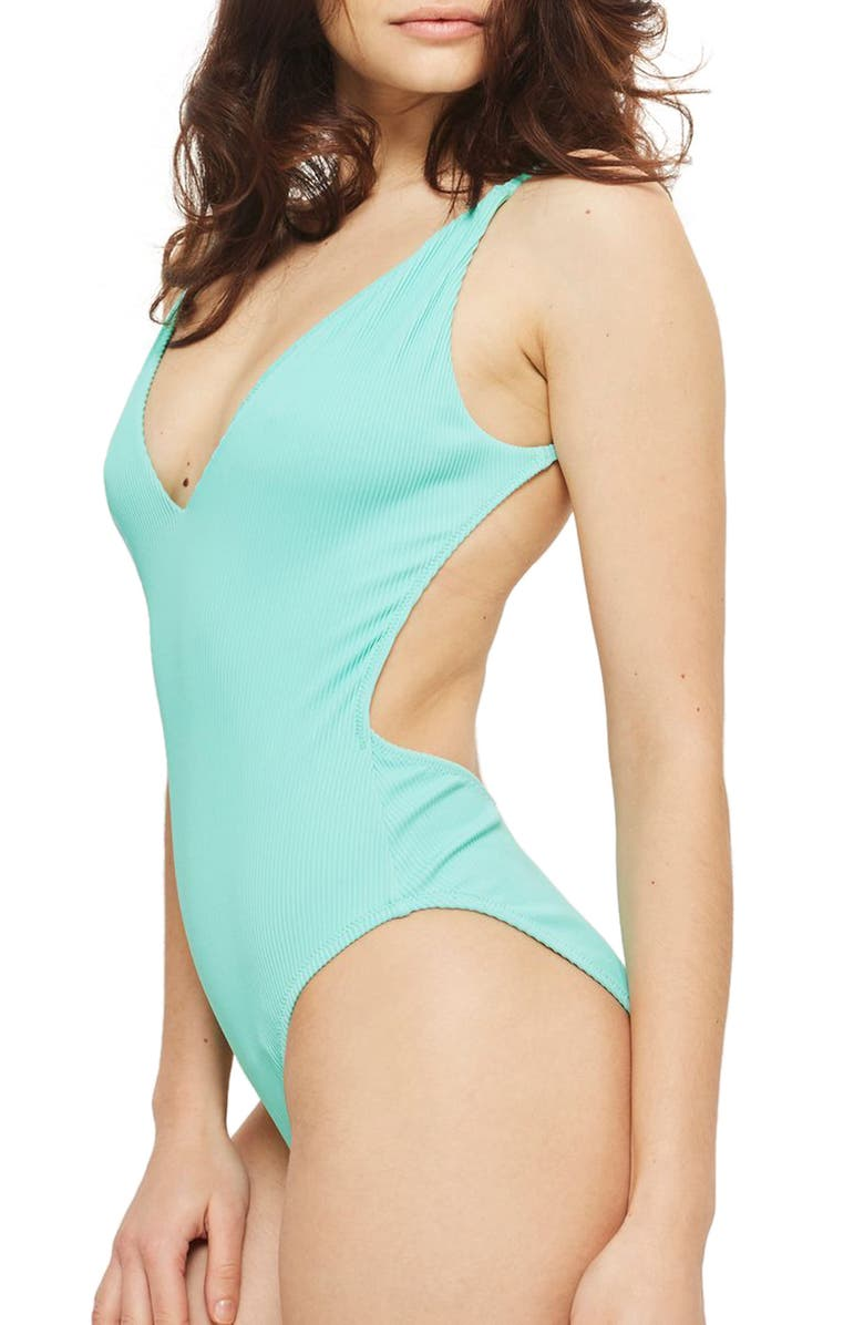 TOPSHOP Plunge Wide Rib One-Piece Swimsuit, Main, color, 330
