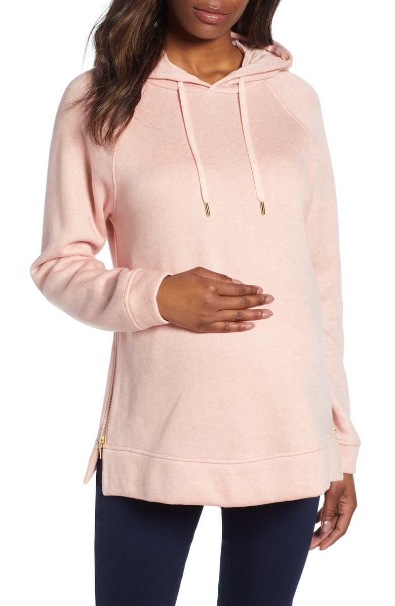 ISABELLA OLIVER Maternity Hoodie, Main, color, QUARTZ PINK