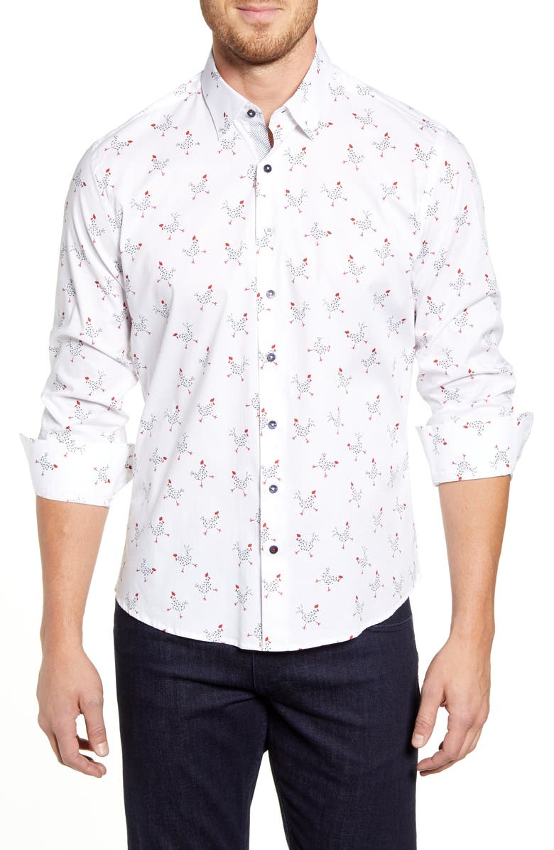 STONE ROSE Regular Fit Rooster Print Button-Up Sport Shirt, Main, color, WHITE