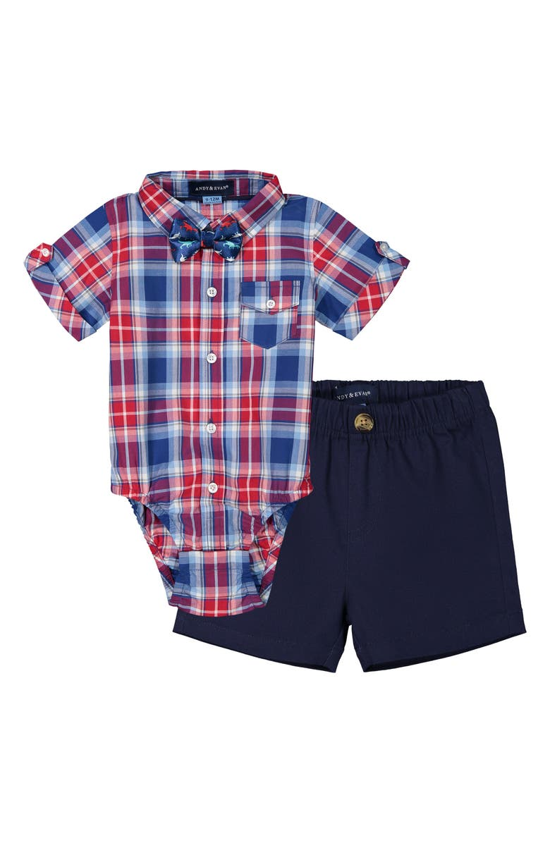 ANDY & EVAN Bodysuit, Shorts & Bow Tie Set, Main, color, RED