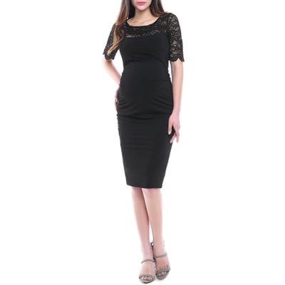 Kimi And Kai Lace Trim Ruched Maternity Dress, Black
