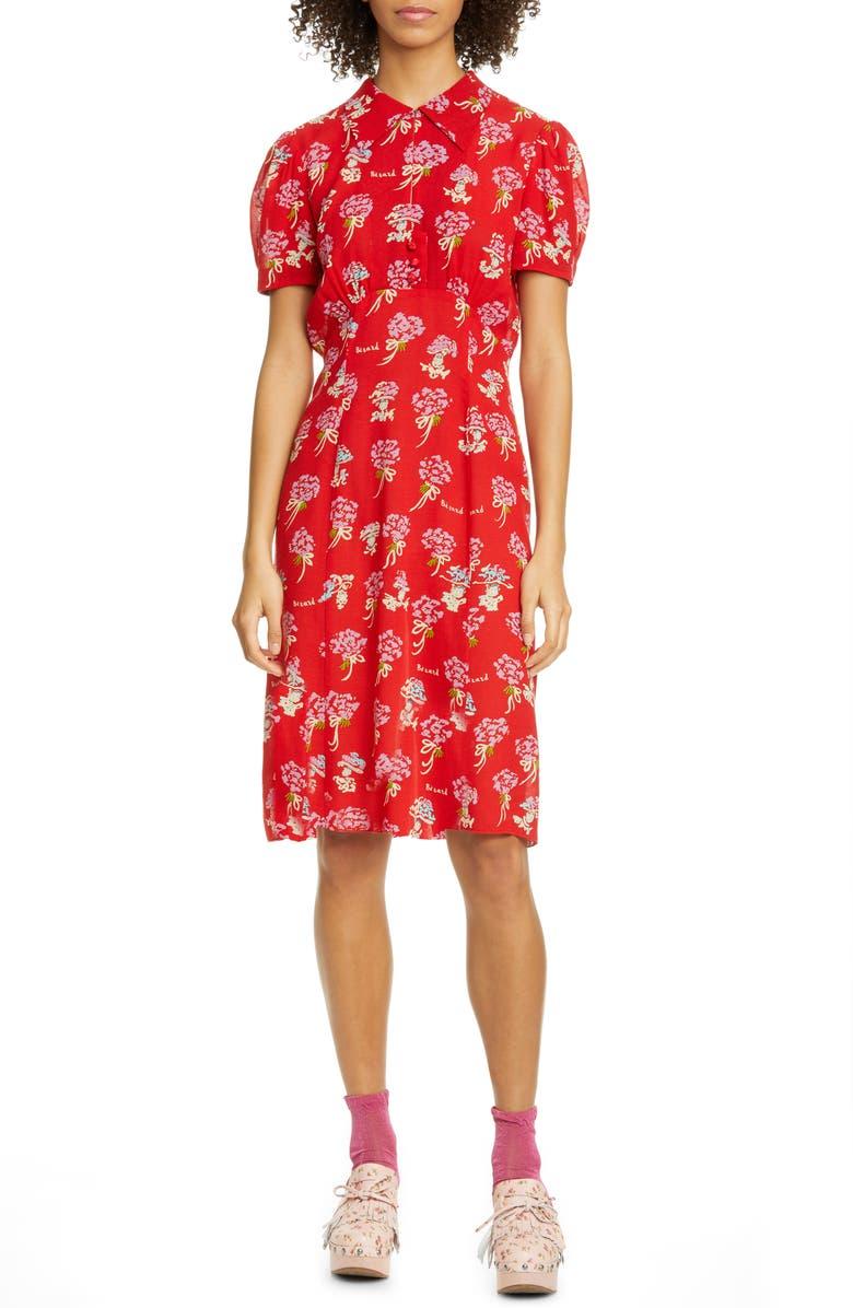 ANNA SUI Bérard Faces Print Dress, Main, color, 600