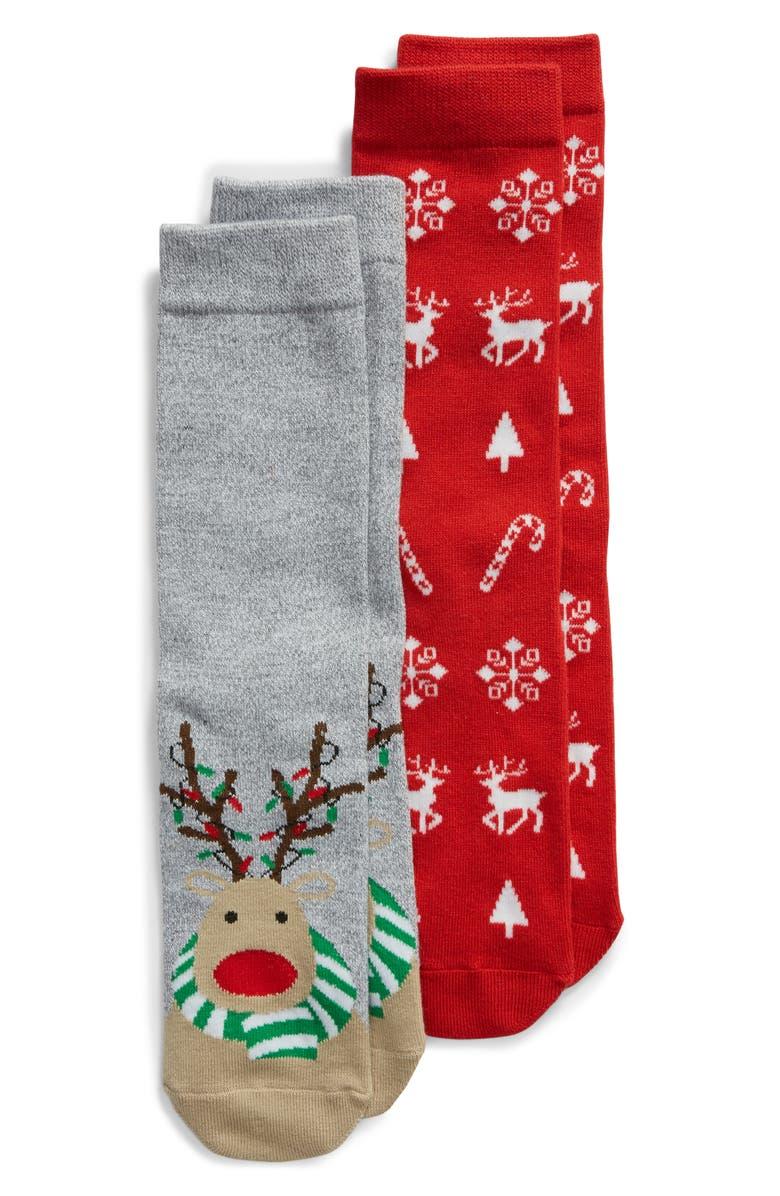 SOF SOLE Reindeer 2-Pack Crew Socks, Main, color, GREY/ RED