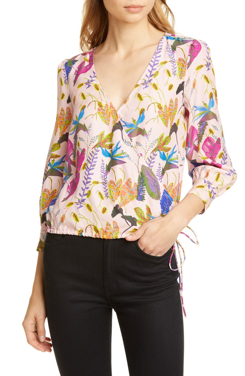 TANYA TAYLOR Gylda Floral Wrap Front Silk Blouse, Main, color, JUNGLE LEAVES NUDE