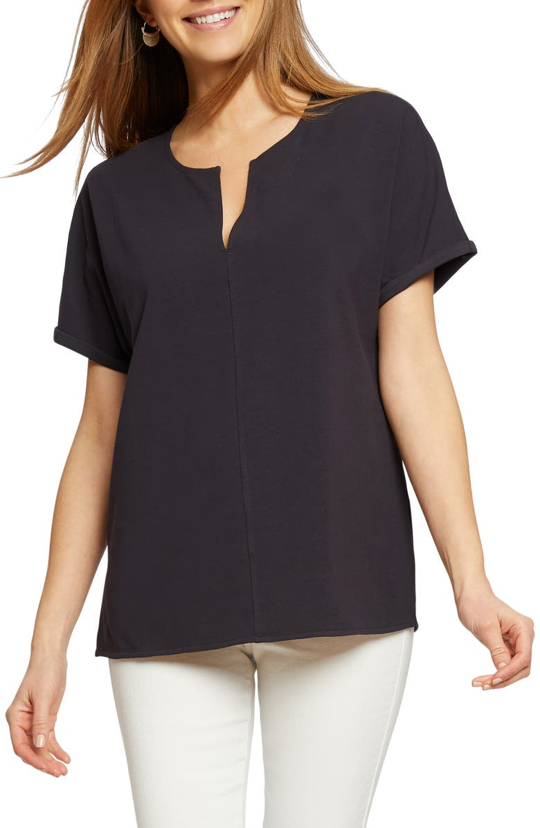 NIC+ZOE Sunday Stroll Stretch Cotton Top, Main, color, MIDNIGHT