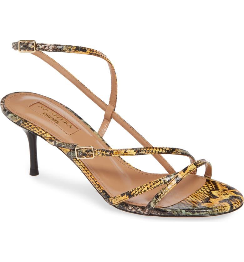 AQUAZZURA Carolyne Genuine Snakeskin Sandal, Main, color, YELLOW SNAKE