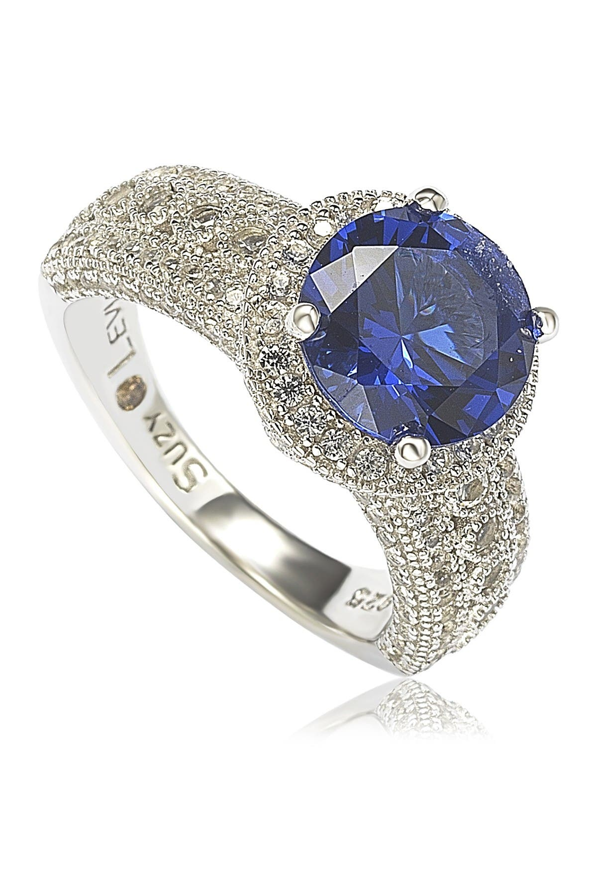 Image of Suzy Levian Sterling Silver Round-Cut Blue Sapphire & Diamond Accent Ring - 0.02 ctw