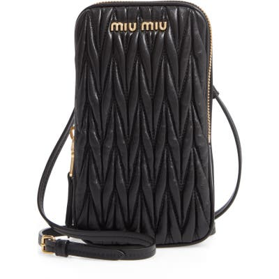 Miu Miu Matelasse Leather Phone Crossbody Bag - Black