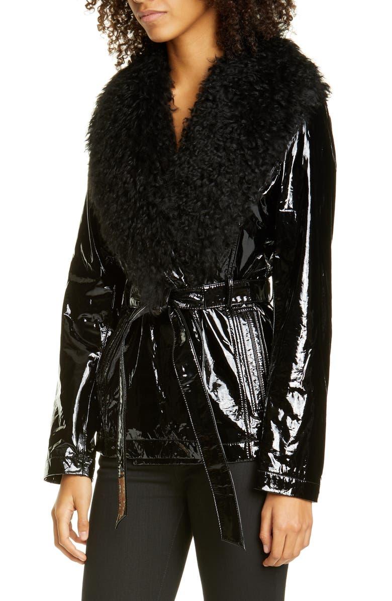 SAKS POTTS Belted Patent Genuine Shearling Jacket, Main, color, BLACK