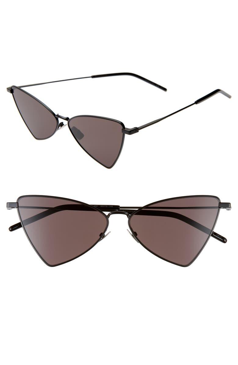 SAINT LAURENT Jerry 58mm Angular Sunglasses, Main, color, BLACK/ BLACK