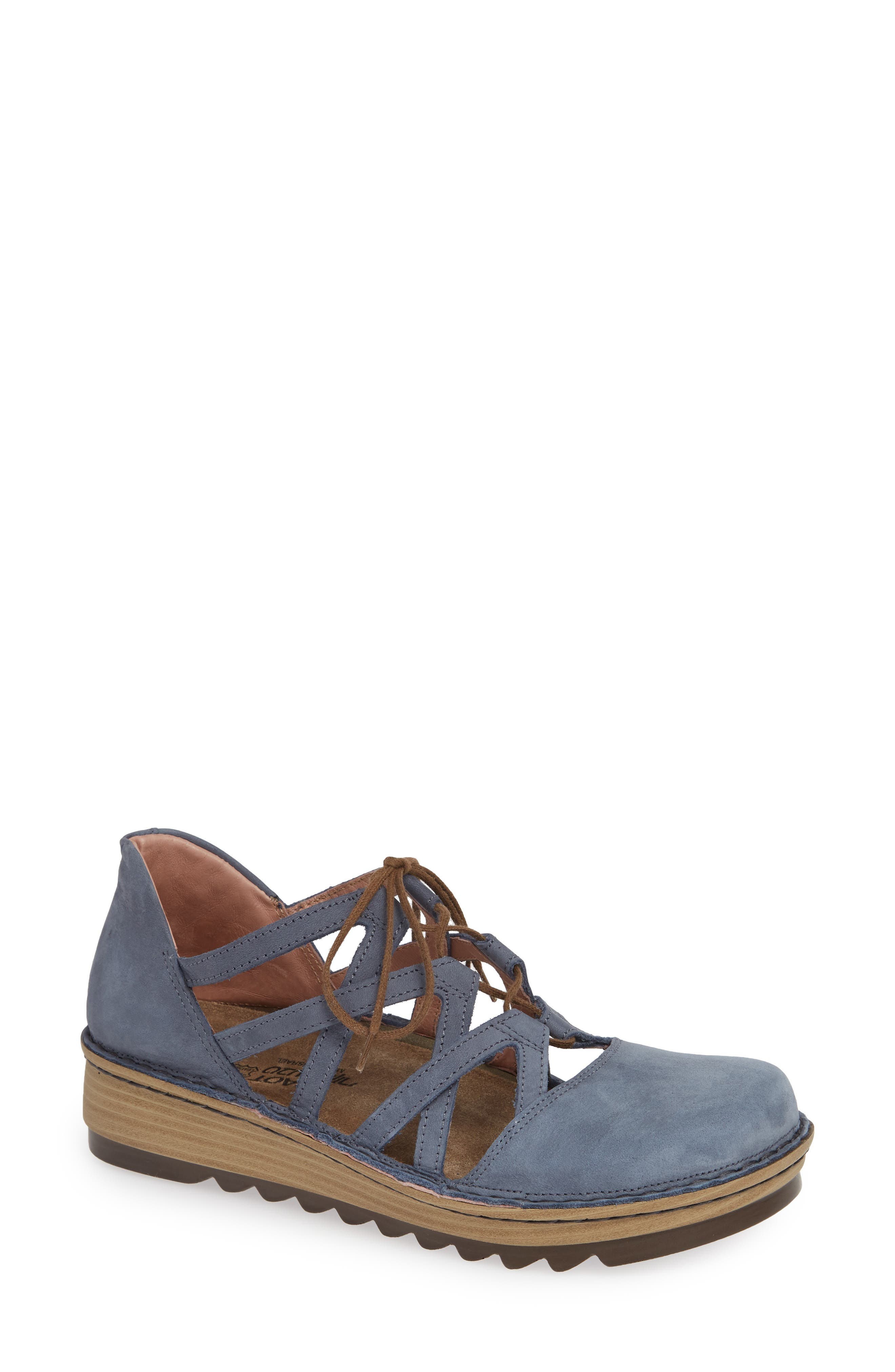 Naot Calathea Ghillie Laced Wedge, Blue